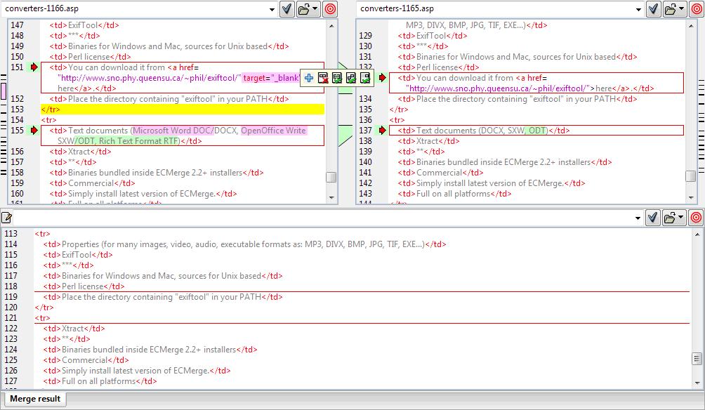 ECMerge Text Comparison With Two Sources