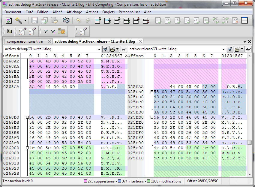 Comparing two binary files in ECMerge