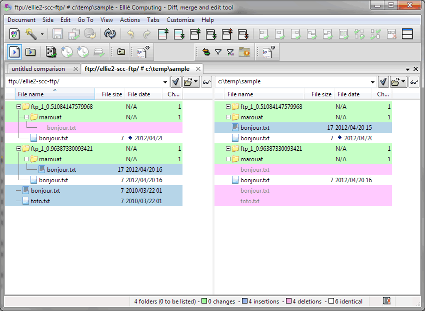 Comparaison locale/FTP avec ECMerge sous Windows