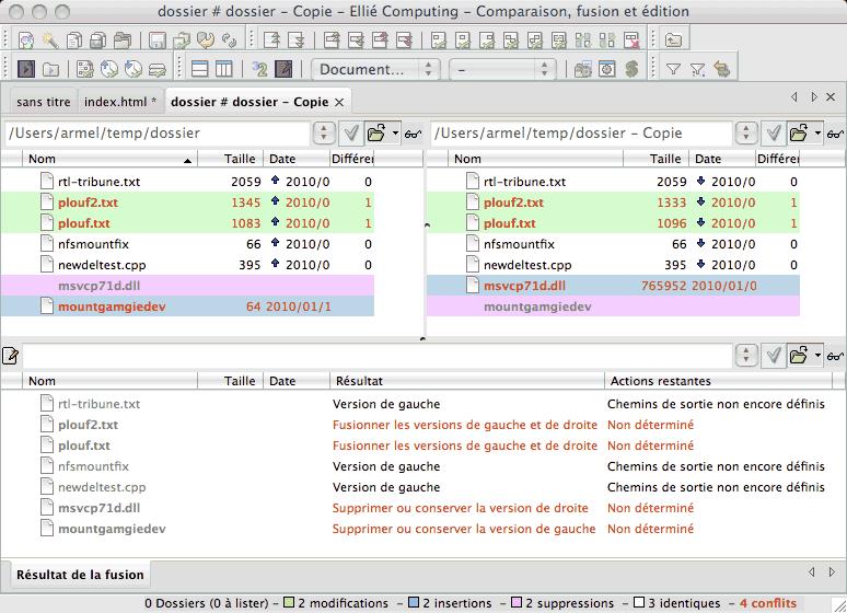 Comparaison de deux dossiers ECMerge sous Mac OS X