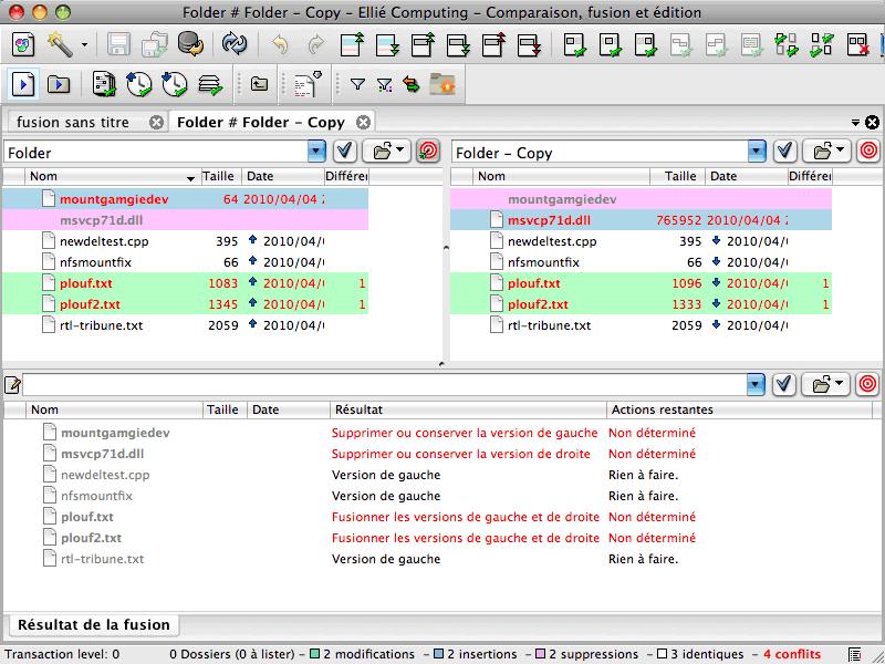 Synchronisation de deux dossiers avec ECMerge sous Mac OS X