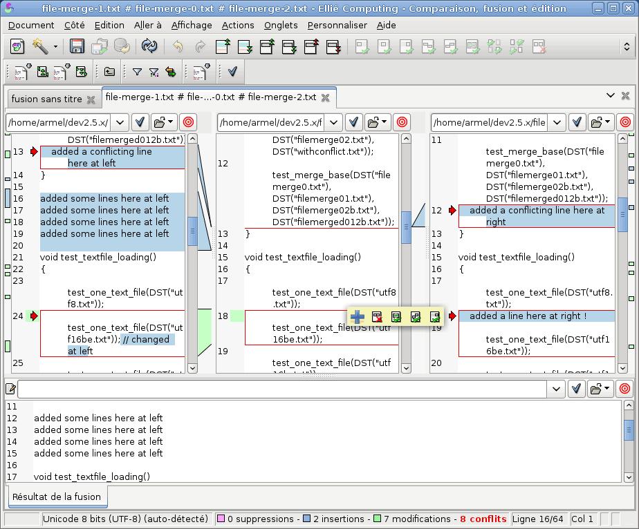 Fusion de deux codes sources avec ancêtre dans ECMerge (Linux)