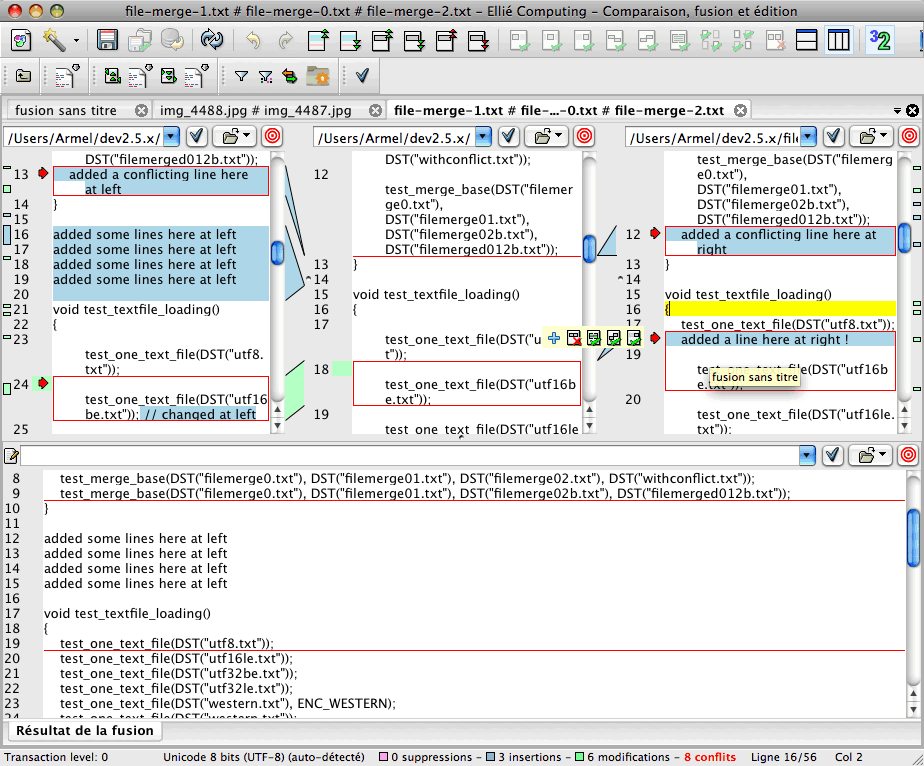 Fusion de deux codes sources avec ancêtre dans ECMerge (Mac)