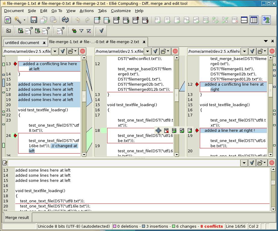 Fusion de deux codes sources avec ancêtre dans ECMerge (Solaris)
