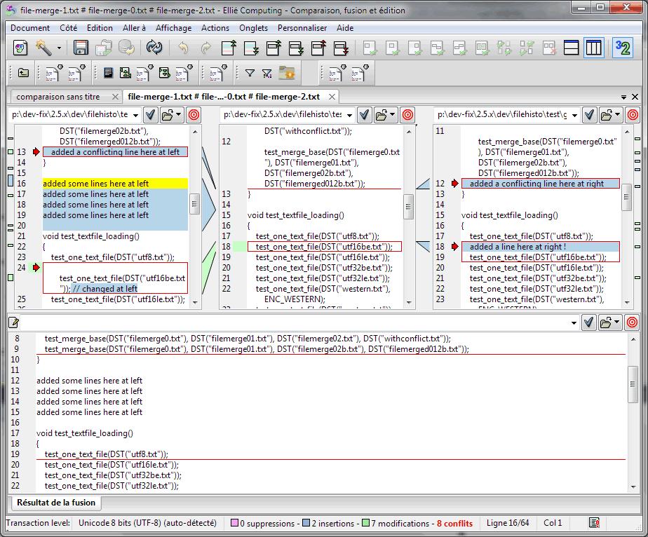 Fusion de deux codes sources avec ancêtre dans ECMerge (Windows)