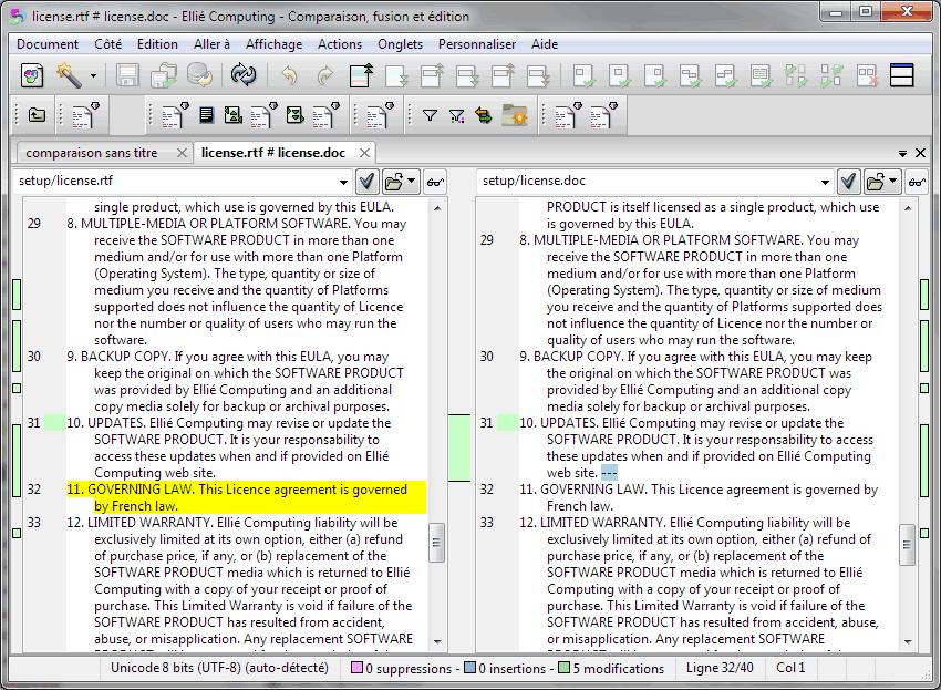Comparaison RTF vers Word dans ECMerge
